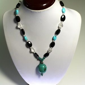 Natural Turquoise Pendant Necklace 18 inches